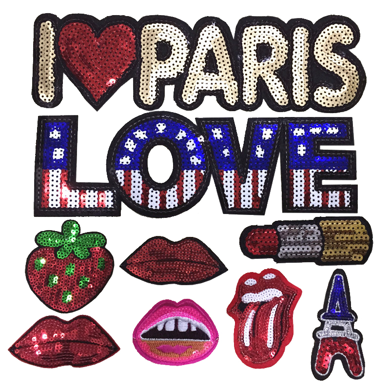 Custom t shirt sticker design letter pattern sequin patch iron on embroidery for clothing