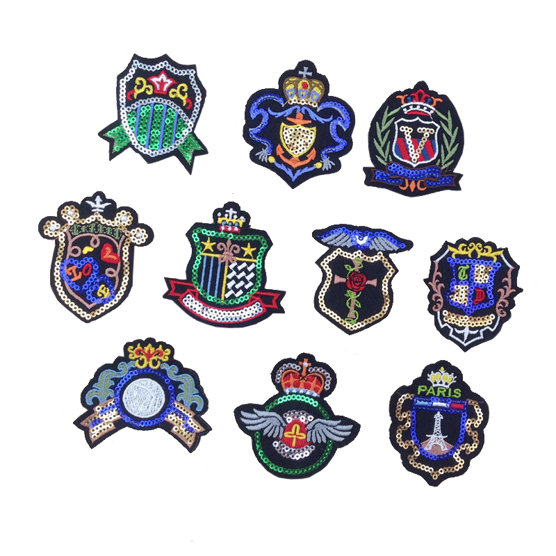 Custom diy badge design machine embroidery sequin sticker for clothing