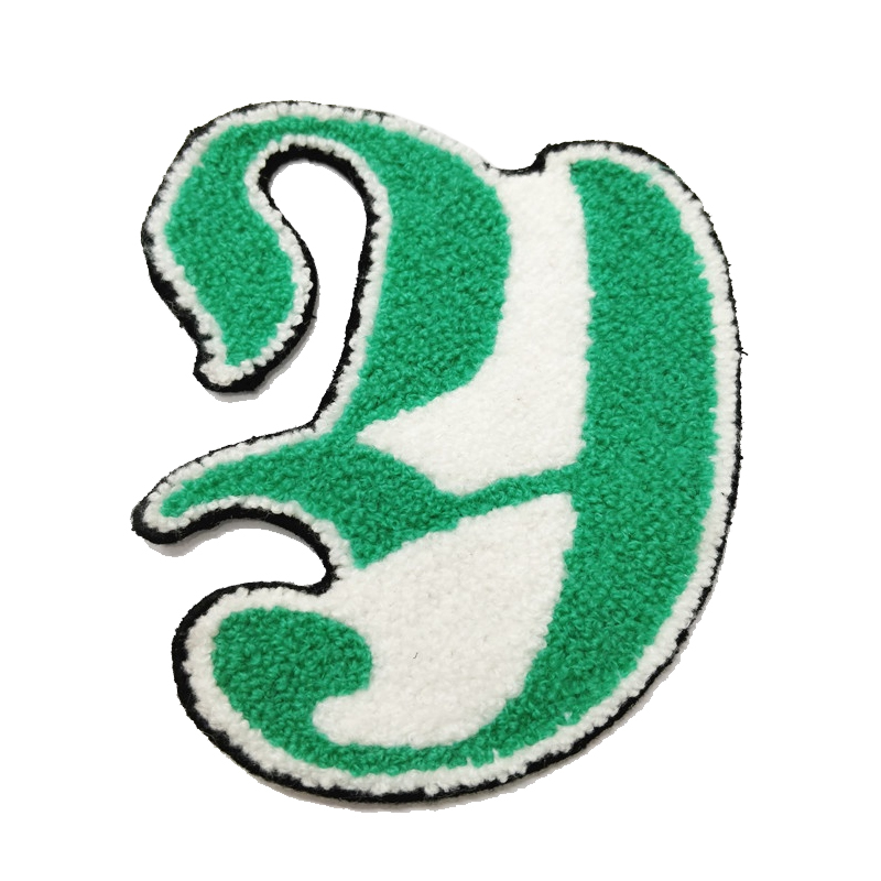Custom letter logo design towel embroidery chenille patches for garment