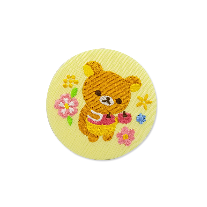 Custom woven badge cartoon bear round embroidery iron on patch for clothing