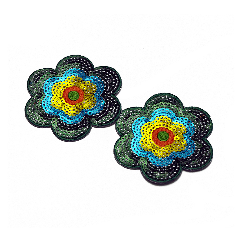 Custom bead applique flowers design sequin fabric embroidery patch for clothing