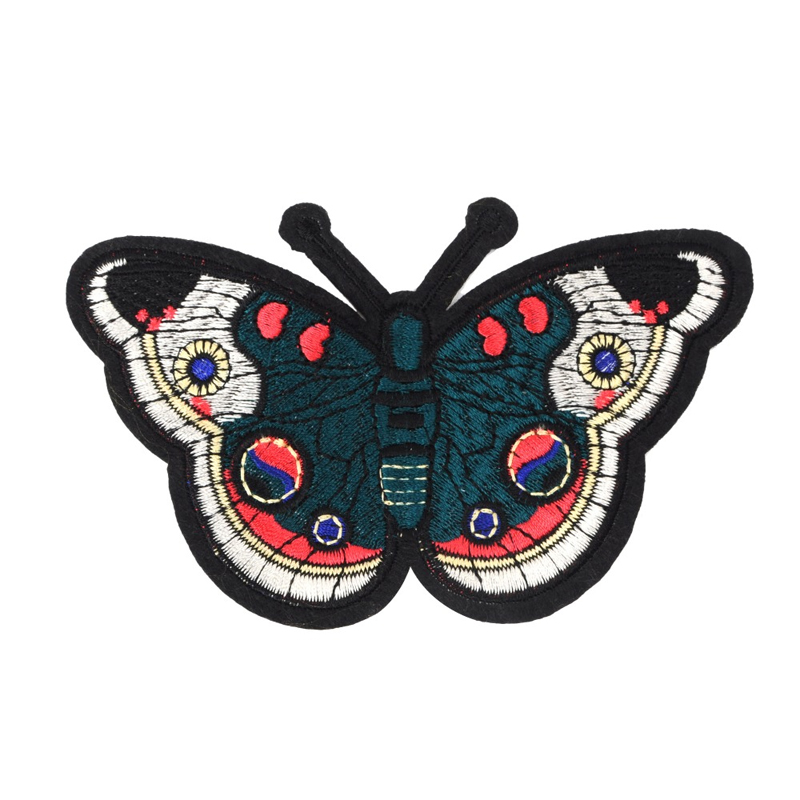 Custom sew on patches butterfly design machine applique embroidery for garment