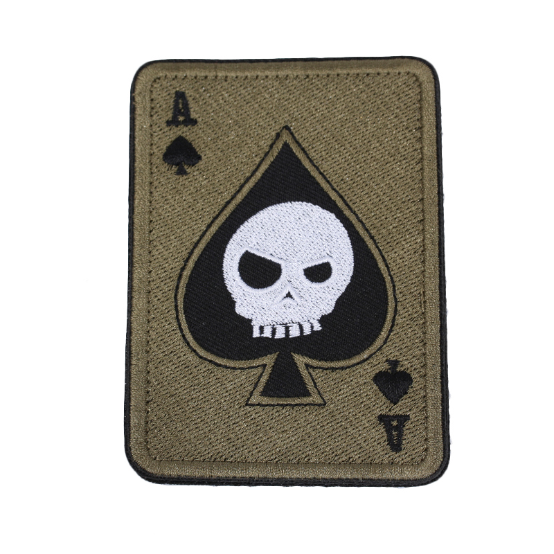 Custom badge iron on sticker spades letter A poker design woven embroidery patch