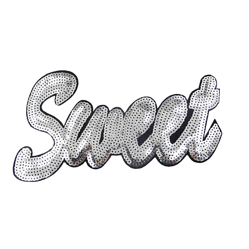 Wholesale patches letter design custom iron on sequin appliques for clothing