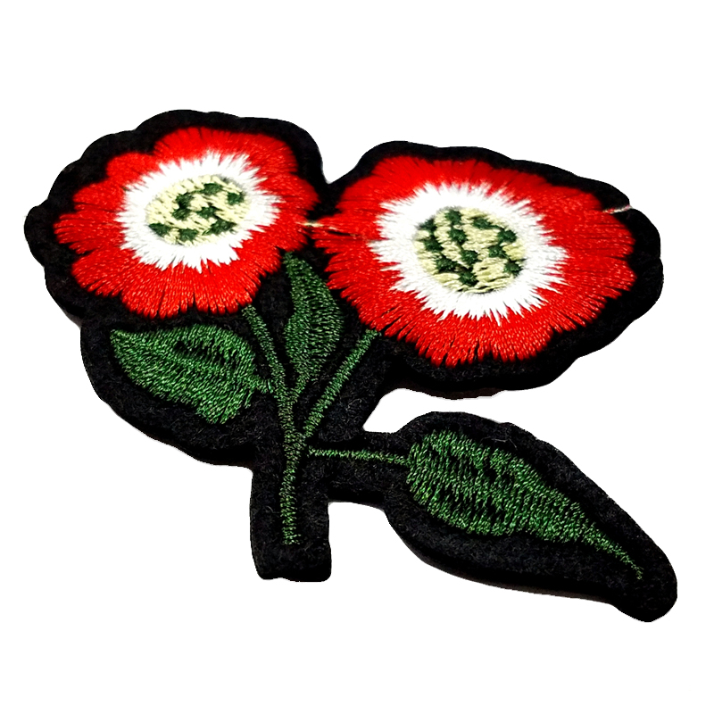 Custom embroidery red rose flower design iron on applique patches for garments decoration