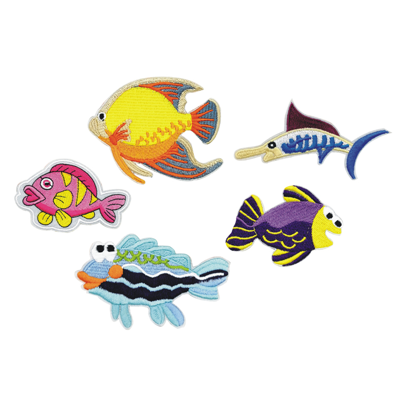 Custom woven applique fish designs wholesale embroidered sew on patch for clothes