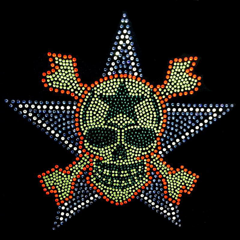 Skull rhinestone heat tansfer motif for T-shirt no MOQ