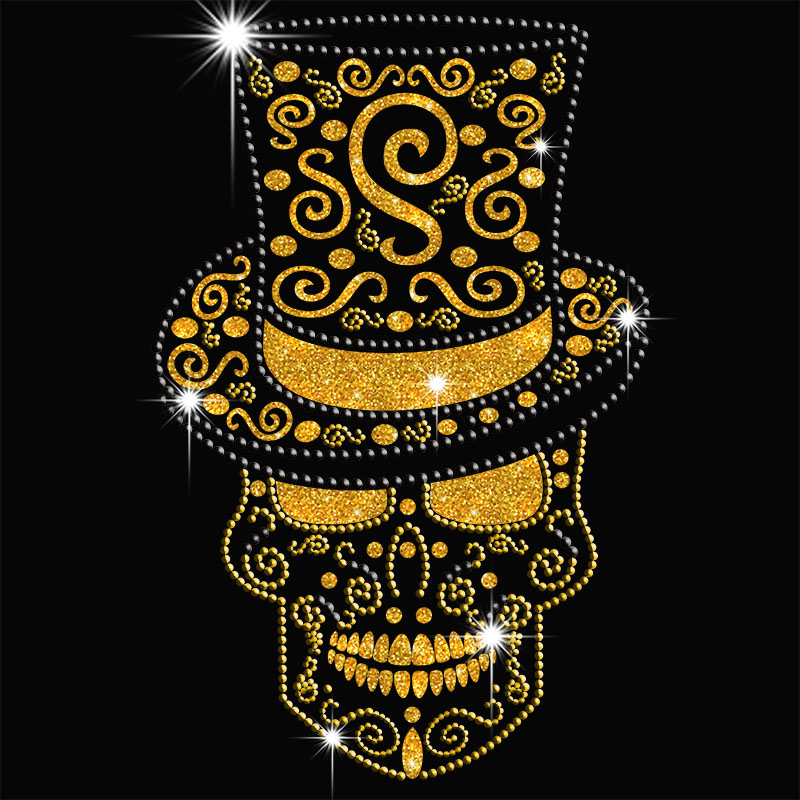 Iron on foil skull rhinestone motif