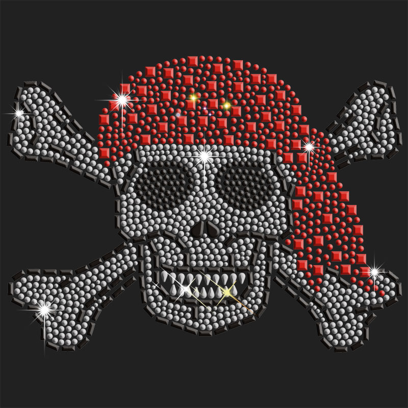 hof fix rhinestuds  skull motif for man t-shirt