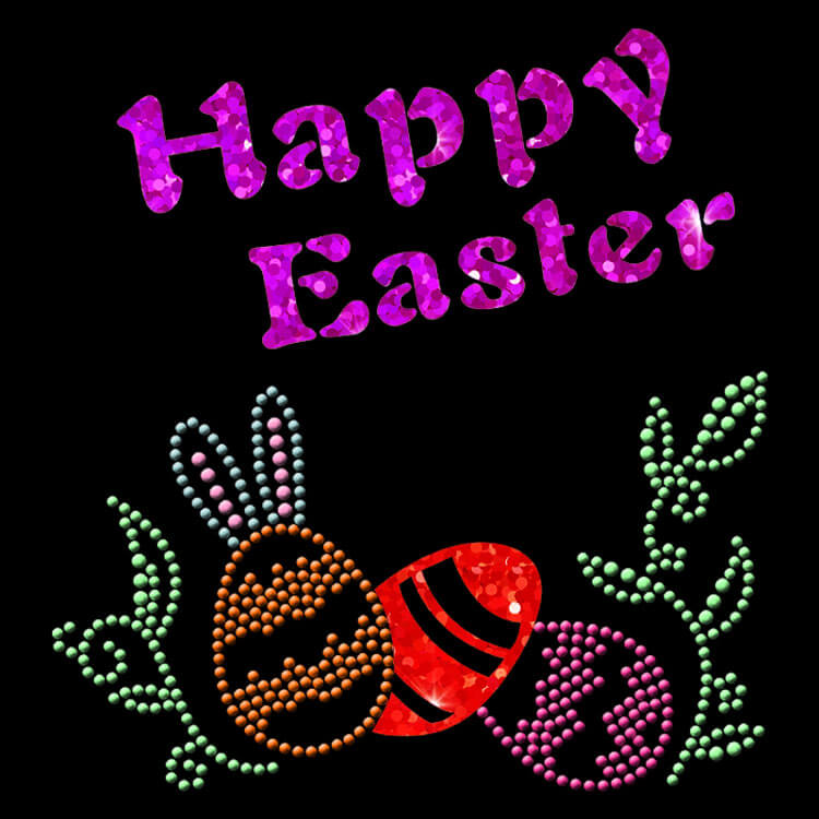 hot fix happy Easter nailheads motif