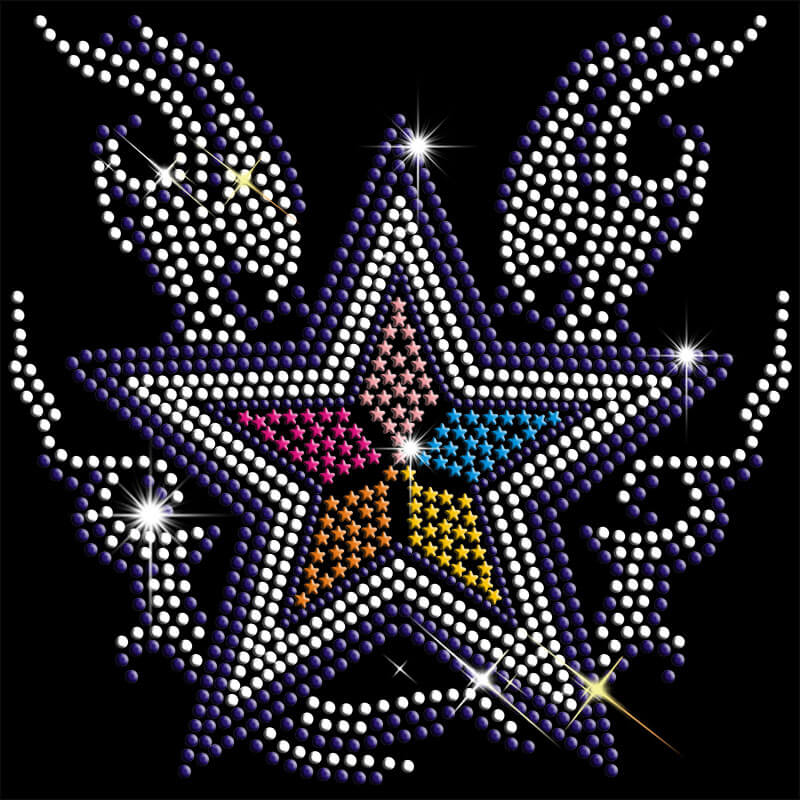 hot fix 8*8 inch stars motif for t-shirts