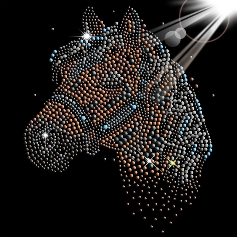 Custom animal horse crystal rhinestones hot fix heat transfers wholesale