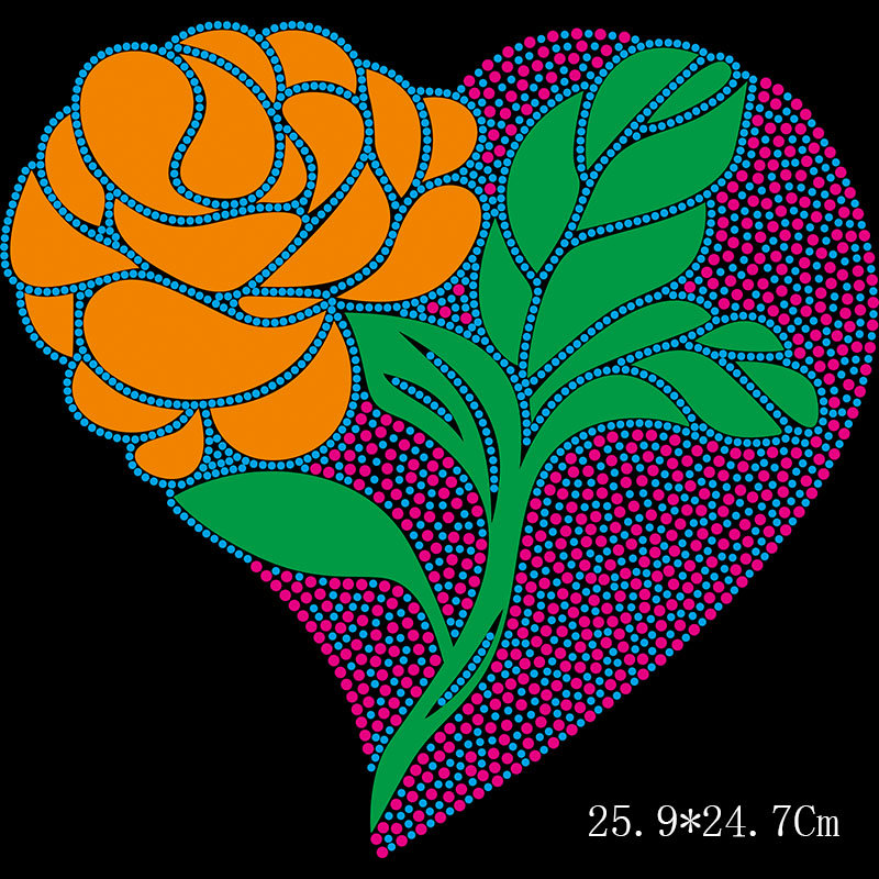 Custom rose heart heat press rhinestone transfers on t shirt